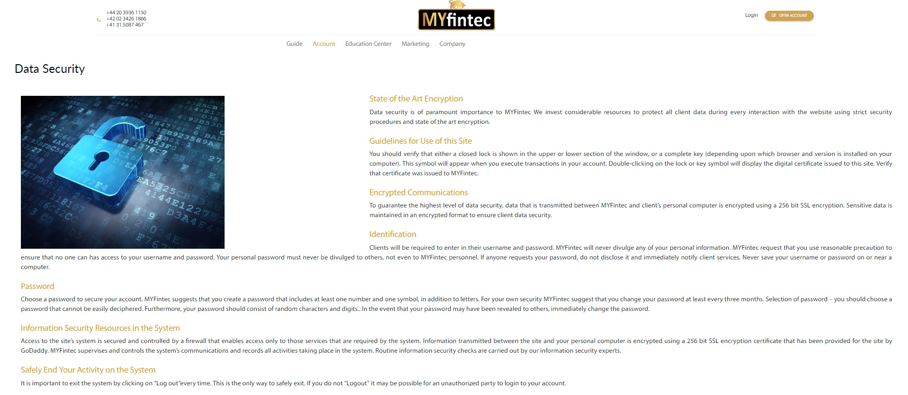 MYfintec Data Security
